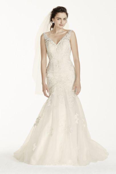 Jewel Tank Mermaid Wedding Dress with Open Back - Davids Bridal