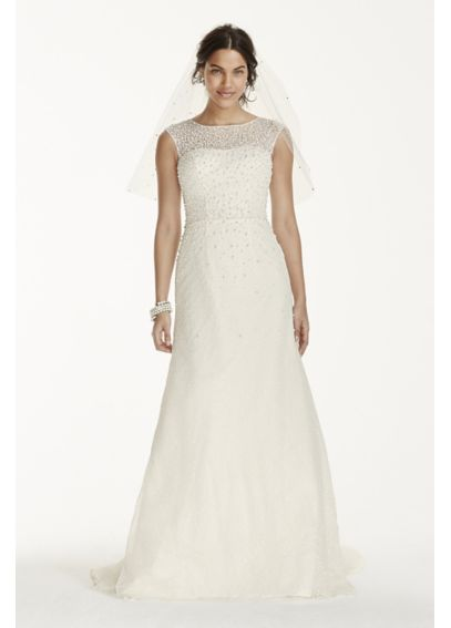 Jewel Cap Sleeve Wedding Dress with Pearl Details V3763