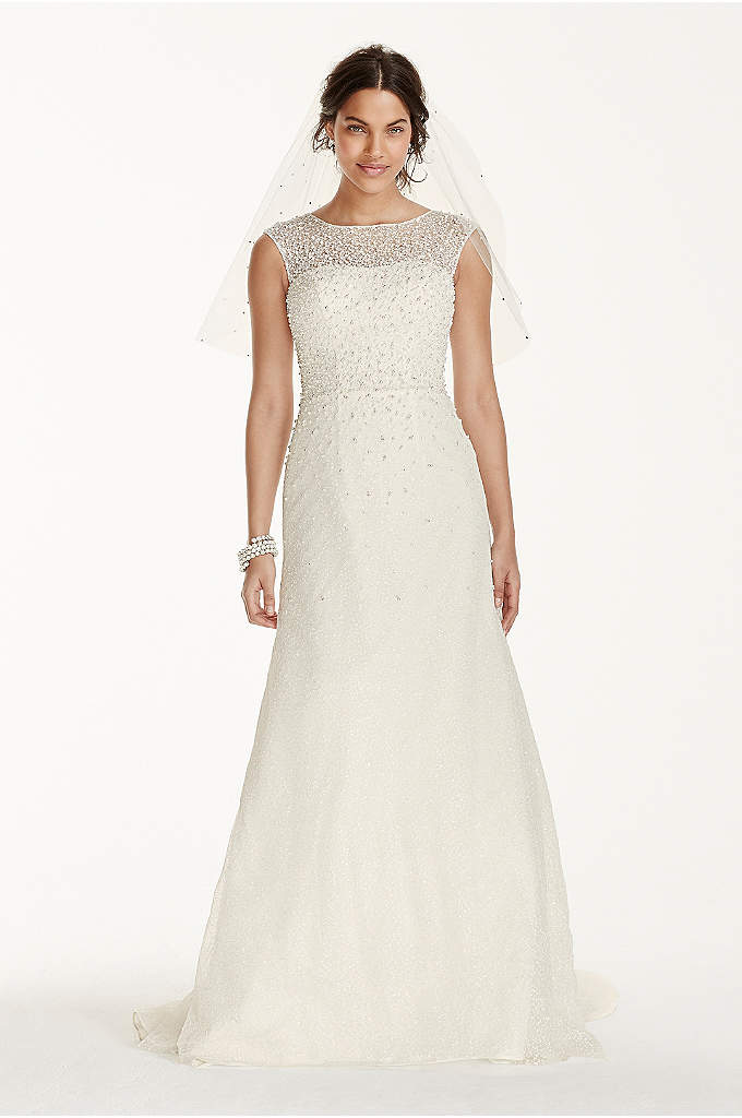 Jewel Cap Sleeve Wedding Dress with Pearl Details - You'll be the center of attention with this