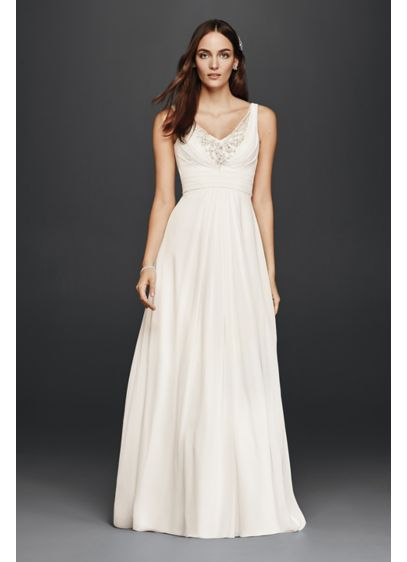 Tank a line wedding dress with embellished bodice david for Beach wedding dresses davids bridal