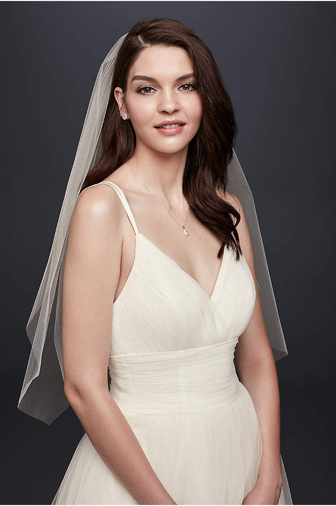 One-Tier Blusher Veil - Classic, elegant and stunning, this raw-edge, one-tier blusher