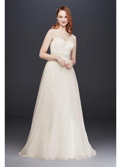 Tulle A-Line Wedding Dress with Beaded Waist | David\'s Bridal