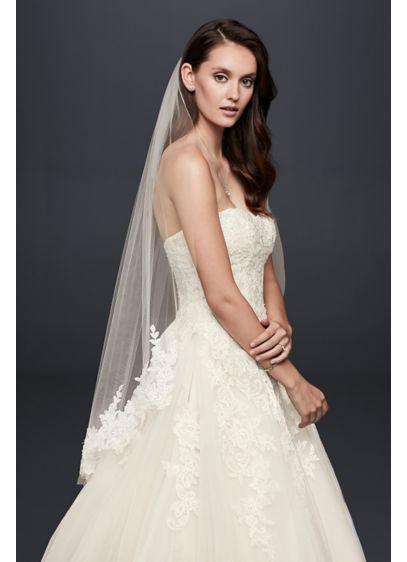 Trailing Floral Lace Applique Fingertip Veil - Wedding Accessories