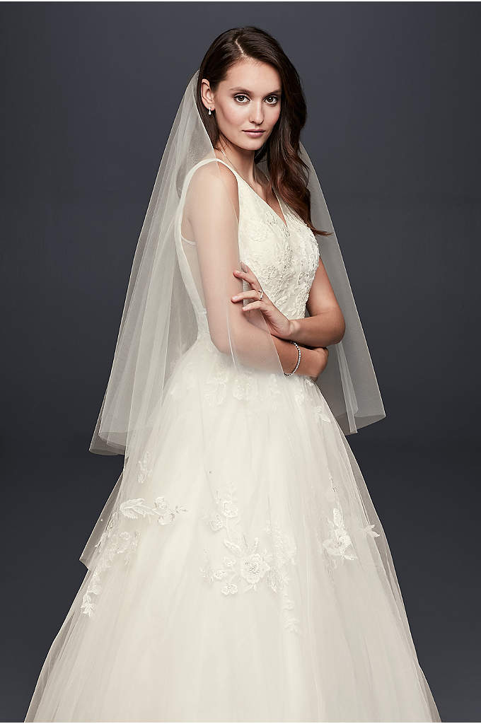 Embellished Lace Applique Two-Tier Fingertip Veil - Beaded floral lace appliques float around the edge