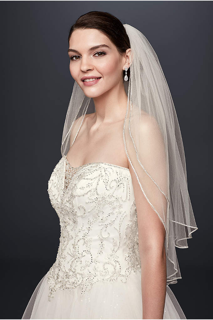 Two TierSparkling Rhinestone Edged Mid Veil - Beautifully lined with sparkling rhinestone trim, this two-tier,