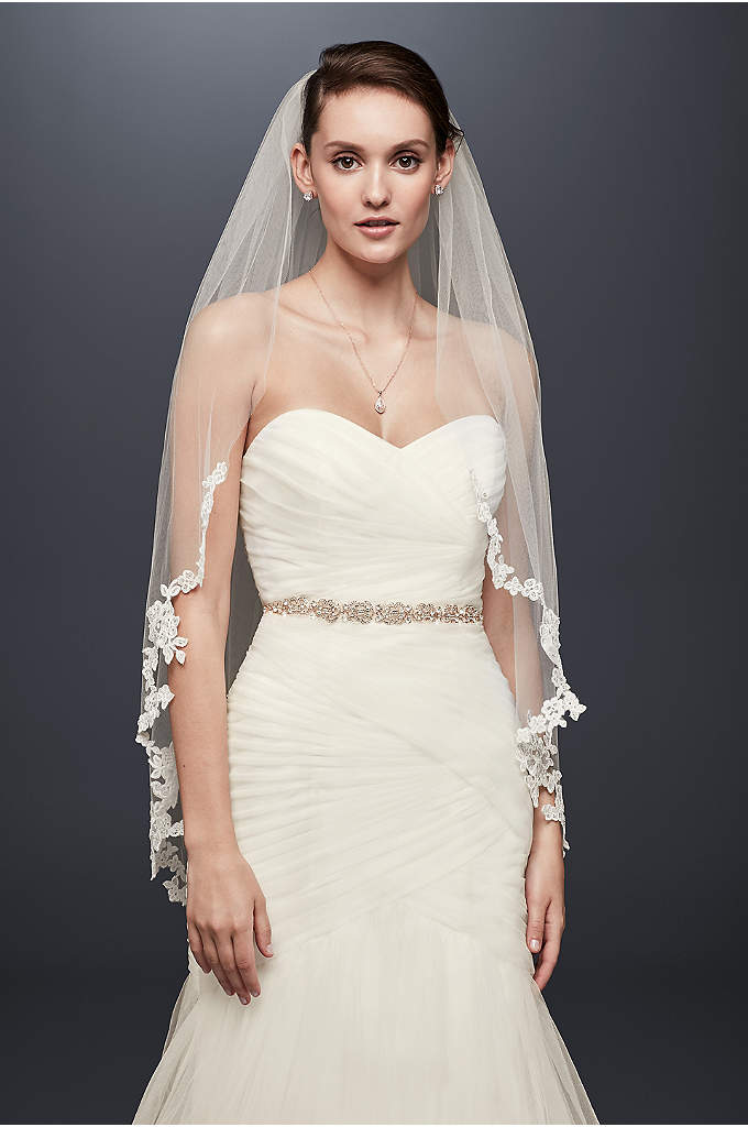 Corded Lace Edge Fingertip Veil - Corded lace flowers spill over the edge of