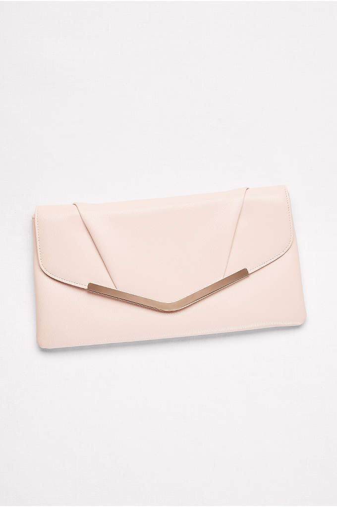 Faux-Leather Envelope Clutch with Bar Detail - A shiny brass edge adds a sleek element