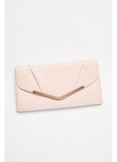 Faux-Leather Envelope Clutch with Bar Detail - Wedding Accessories