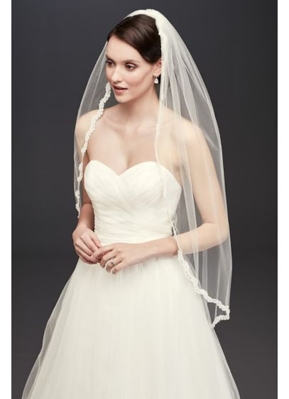 Thin Lace Rhinestone Border Mid Veil - Wedding Accessories