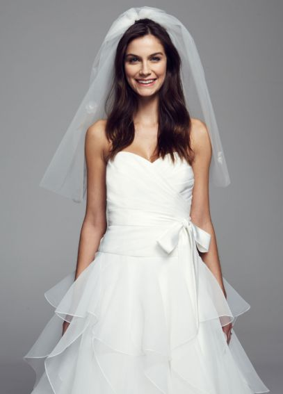 Mid Length Double Layer Veil with Bubble Hem V520