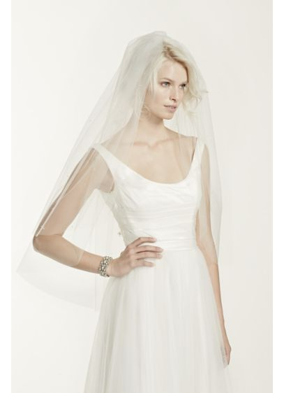 Two Tier Mid Length Veil with Pearl Detail - Wedding Accessories