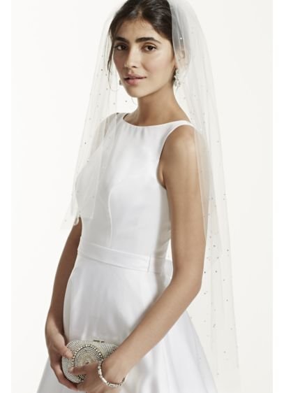 One Tier Scattered Crystal Mid Length Veil - Wedding Accessories