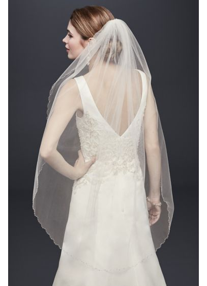 Mid Veil with Beaded Scalloped Edge - Wedding Accessories