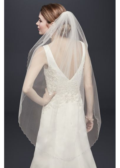 Mid Veil with Beaded Scalloped Edge V650
