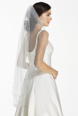 Pencil Edge Mid Veil With Starburst Beading David S Bridal