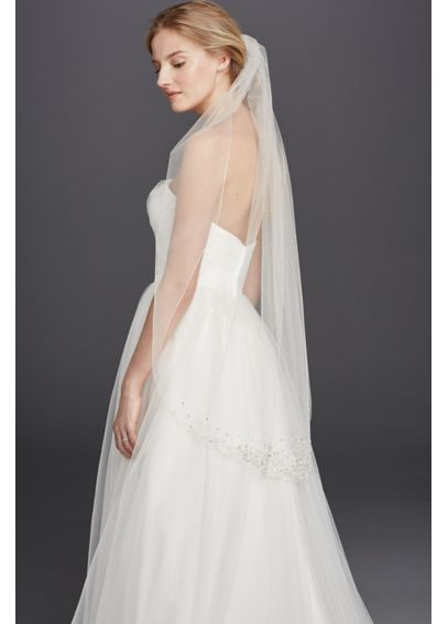 Metallic Edge Mid Veil with Filigree Beading V681