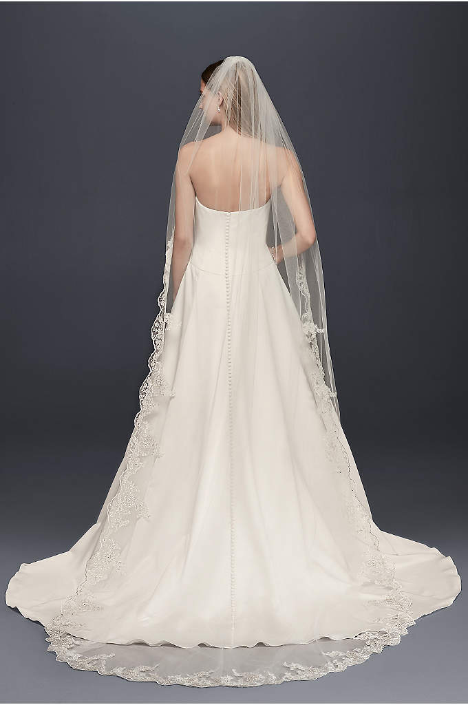 Floral Embroidered Cathedral Veil with Rhinestones - This cathedral length veil evokes a sunflower meadow,