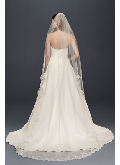Floral Embroidered Cathedral Veil with Rhinestones - Wedding Accessories
