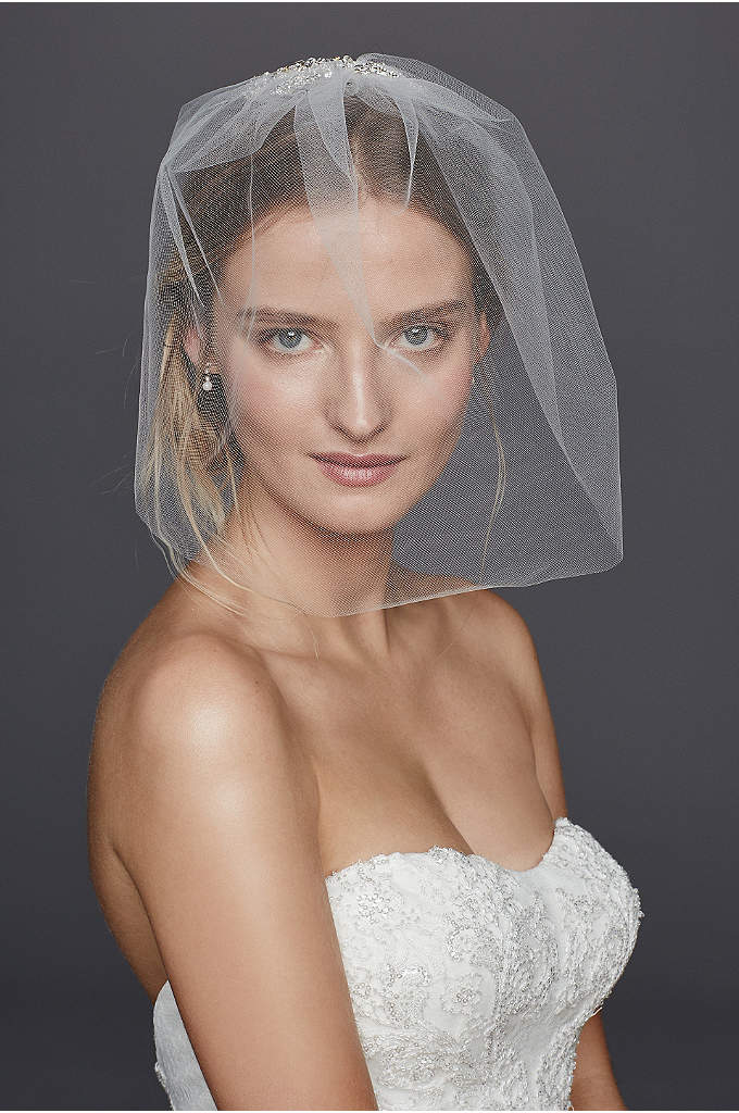 Caged Blusher Veil with Crystal Beaded Comb - Channel your inner high-fashion model in this caged