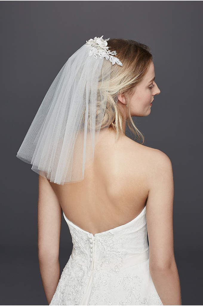 Short Veil with Lace Fabric Flowers - This short veil will add a feminine, vintage-inspired