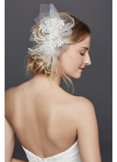 Blusher Veil with Beaded Floral Lace - Wedding Accessories
