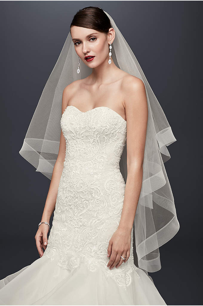 Two-Tier Horsehair Trim Fingertip Veil - This mid-length tulle veil provides a clean, sophisticated