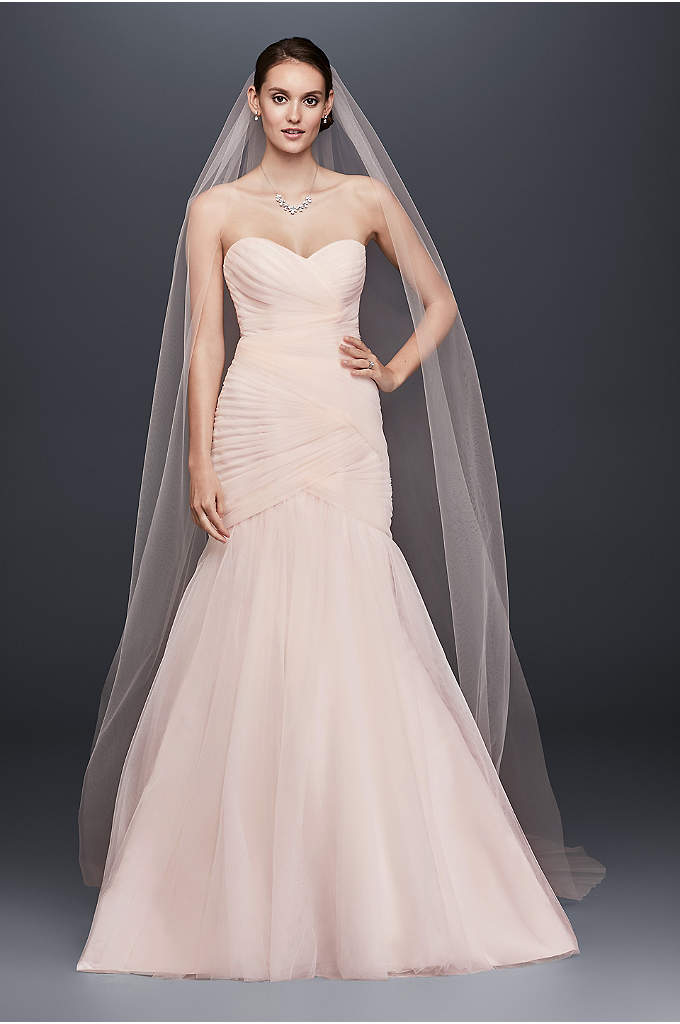 Single-Tier Raw Edge 144-Inch Cathedral Veil - Stylishly simple, this lengthy tulle cathedral veil is