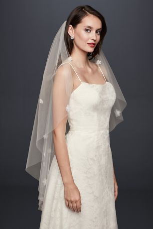 3D Floral Elbow-Length Veil - This elbow-length tulle veil blooms with beaded organza