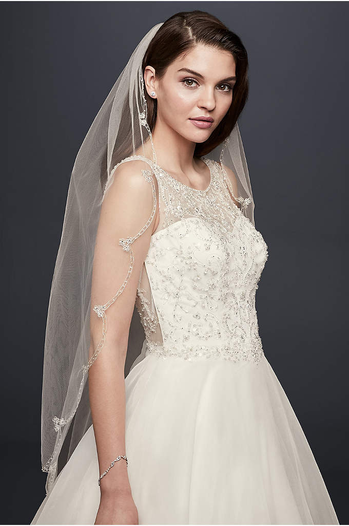 Embroidered Scallop-Edged Fingertip Veil - A scalloped edge of delicate embroidery embellished with