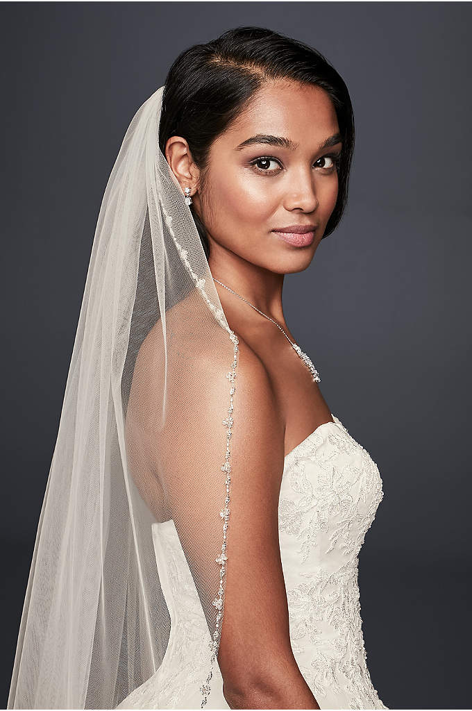 Delicate Beaded Edge Fingertip Veil - A narrow edge of delicate beading with hints