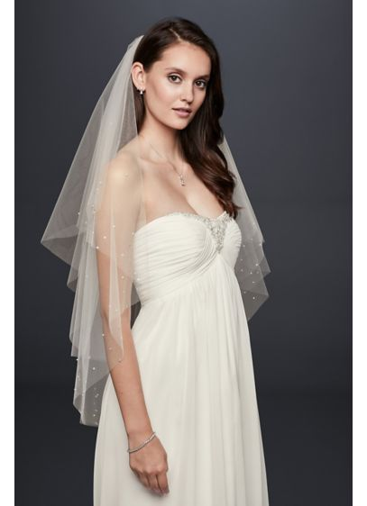 Crystal and Pearl Two-Tier Fingertip Veil - Wedding Accessories