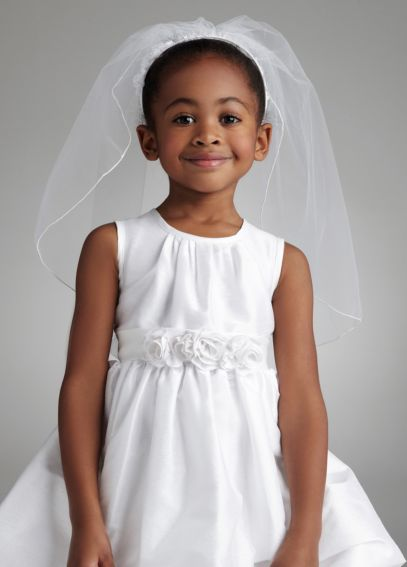 Communion Veil with Floral Motif Headband V8011