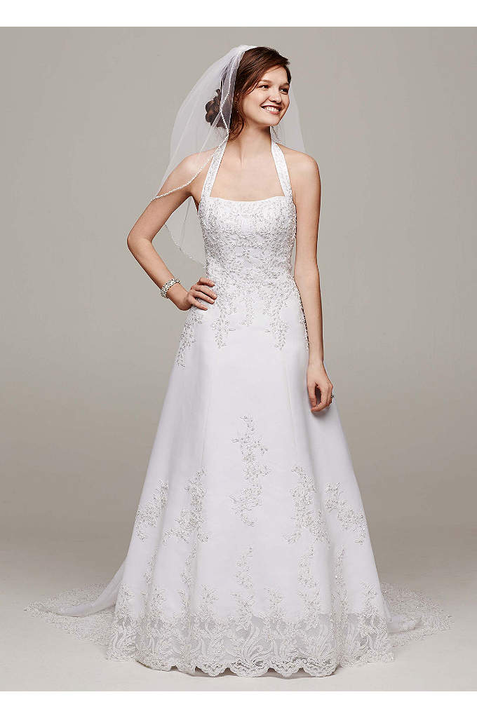 Satin Halter A-line Wedding Dress with Beaded Lace