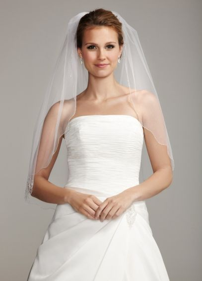 Waist Length Veil with Scalloped Beaded Edge V910