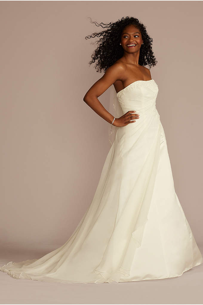 Chiffon A-line Wedding Dress with Side Draping - This chiffon A-line wedding dress is a classic