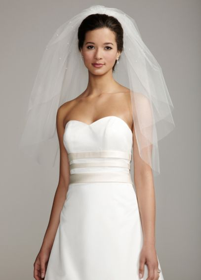 Two Tier Elbow Length Veil with Scattered Pearls V953