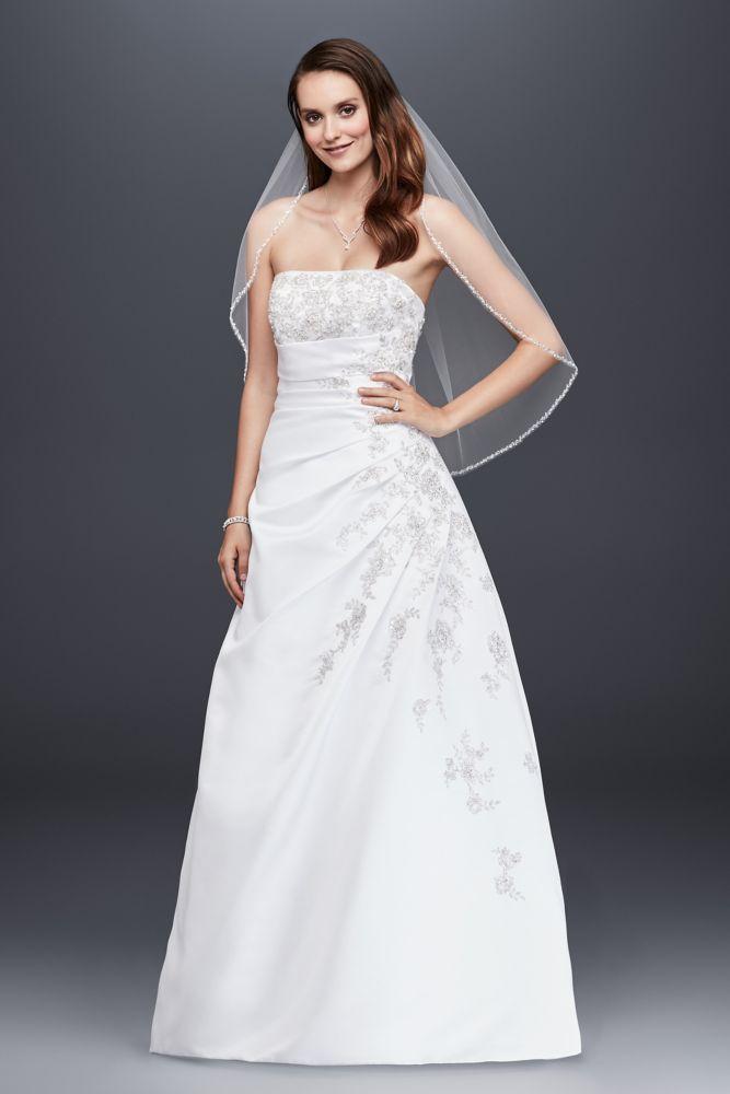 David 39 s bridal a line side drape strapless wedding dress David s bridal strapless wedding dress
