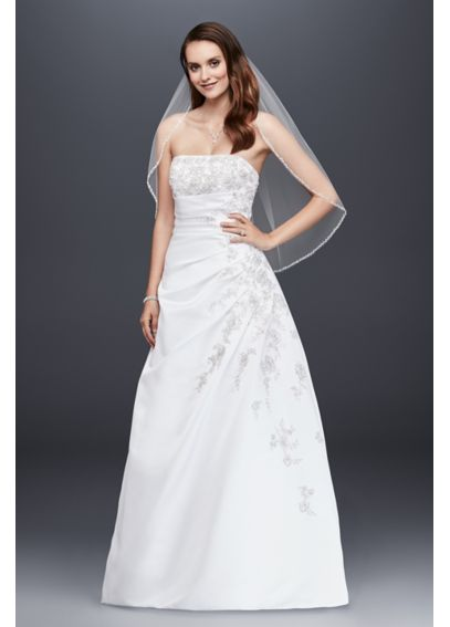 A-line Side Drape Strapless Gown V9665