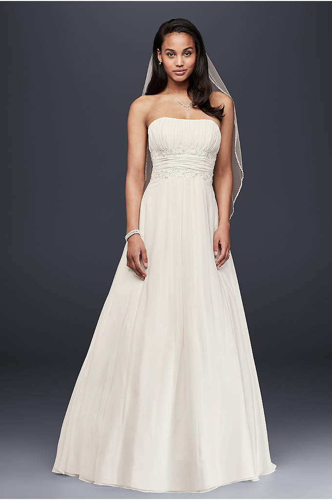 Soft Chiffon Wedding Dress with Beaded Lace Detail - This empire-waist strapless wedding gown is beautifully designed