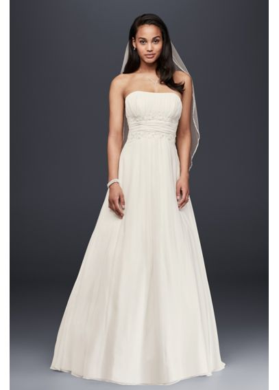 Chiffon Soft Wedding Dress with Beaded Lace Detail V9743