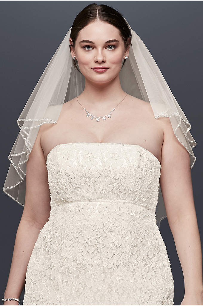 Two Tiered Veil with Beaded Stitched Edge - Beautiful two tier tulle fingertip length veil embellished