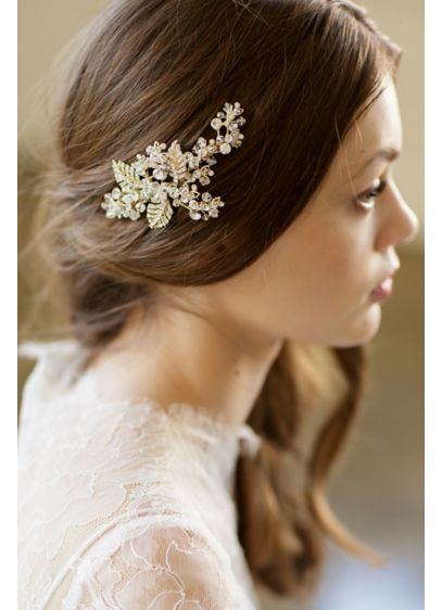 Floral Leaf and Filigree Hand-Wired Crystal Clip - Wedding Accessories