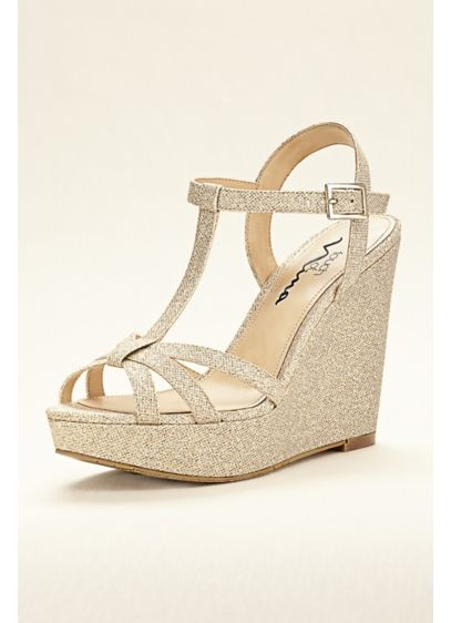 Touch of Nina Black (Touch of Nina Strappy Glitter Wedge Sandal)