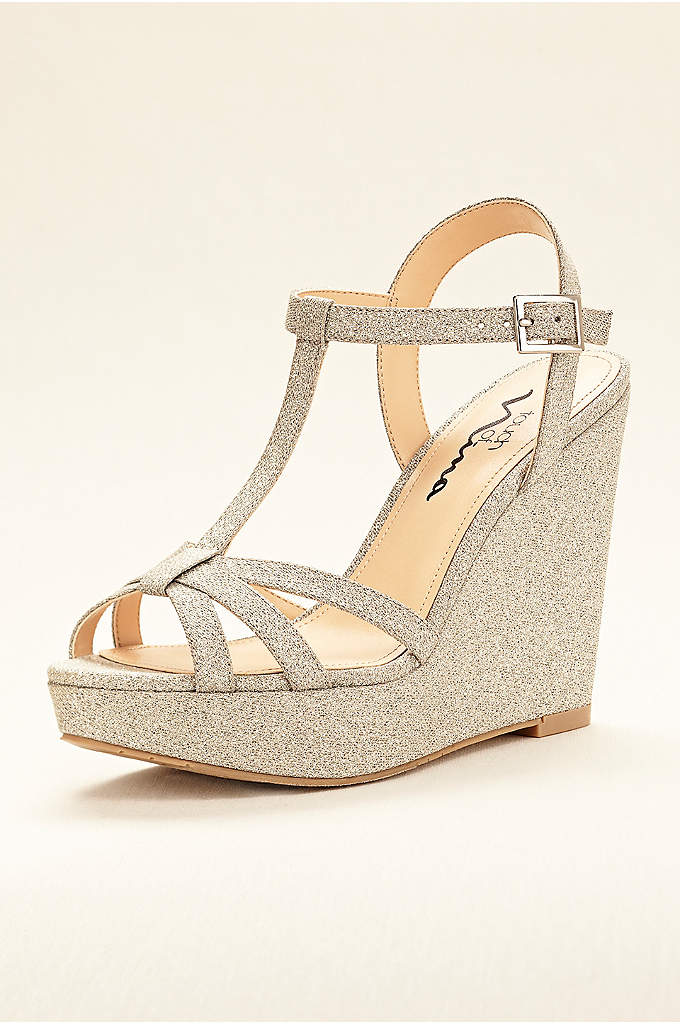 Touch of Nina Strappy Glitter Wedge Sandal - Glitter fabric adds just the right amount of