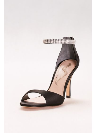 Nina Black (Rhinestone Ankle Strap Two-Piece Pumps)