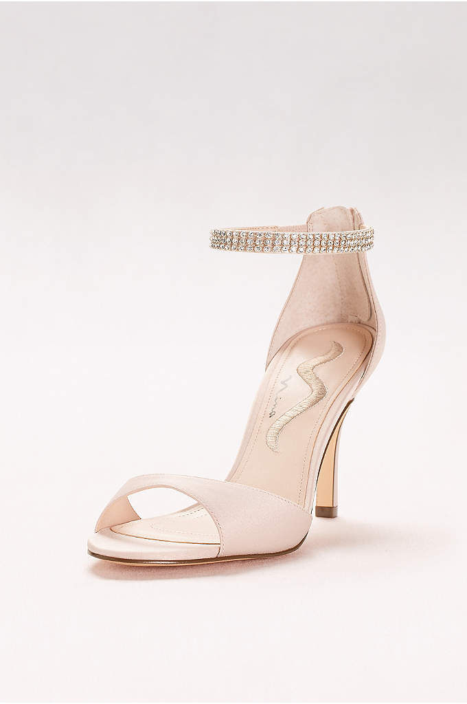 Rhinestone Ankle Strap Two-Piece Pumps - The gracefully tapered vamp and sparkling crystal ankle