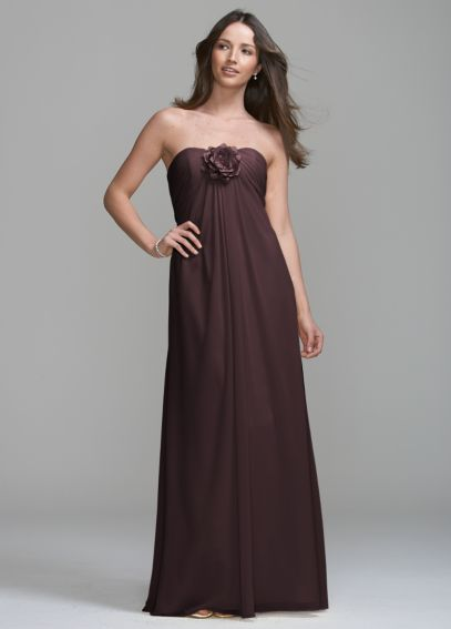 Long Chiffon Dress with Removable Flower Detail VC307