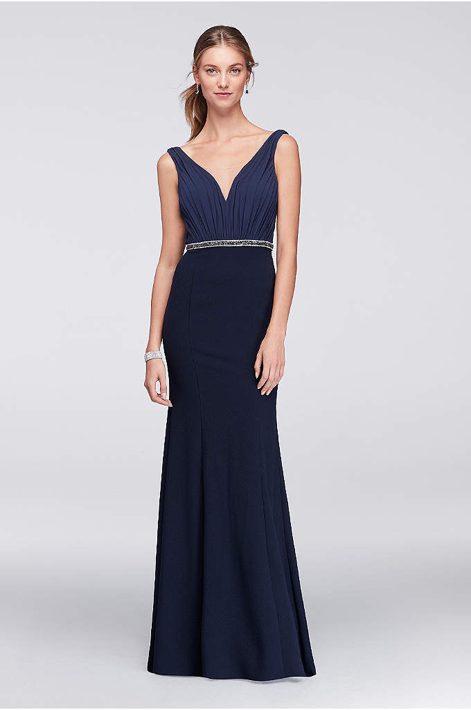 Chiffon and Crepe Plunge-Front Gown - An elegant and timeless gown, finished with an