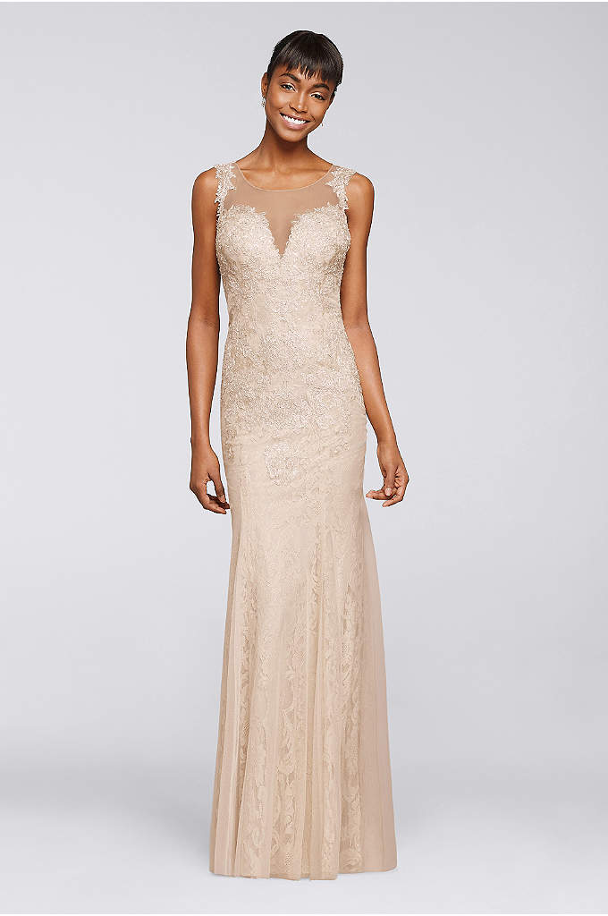 Long Beaded Dress with Illusion V-Neckline - With a plunging illusion neckline, allover beading, and