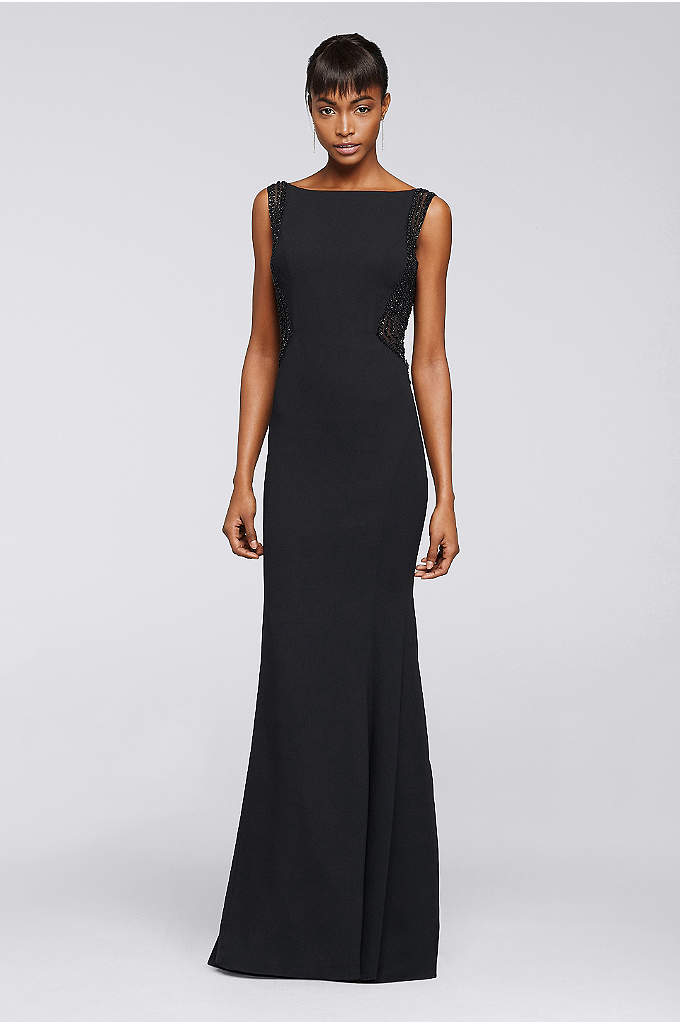 Long Dress With Illusion Side Panels and Open - Linear sequins flow along the side illusion panels